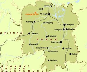 中國湖南(張家界)旅行マップ